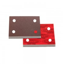 """Premium Red A/O Foam Abrasives with holes, 3"""" X 4"""" Pad 10 mm Thick"""